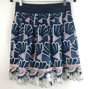 Anthropologie Lauren Moffit Embroidered Skirt Sz 4